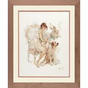 """Набор для вышивания крестом LANARTE """"Девушка в кресле с собакой"""""""