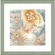 """Набор для вышивания крестом LANARTE """"Молодая женщина с павлиньими перьями"""""""