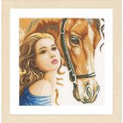 """Набор для вышивания крестом LANARTE """"Девушка и лошадь"""""""