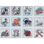 """Канва/ткань с нанесенным рисунком Gobelin-L """"Животные, птицы, насекомые"""", 12 картинок"""