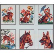 """Канва/ткань с нанесенным рисунком Gobelin-L """"Животные"""", 6 картинок"""
