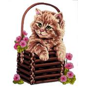 "Канва с нанесенным рисунком Gobelin-L ""Котенок в корзине"""