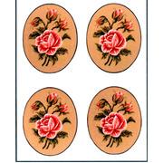 """Канва с нанесенным рисунком Gobelin-L """"Роза,овал"""", 4 картинки"""
