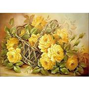 """Ткань с рисунком для вышивки лентами Каролинка """"Розы"""""""