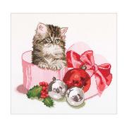 """Набор для вышивания крестом Thea Gouverneur """"Рождественский котёнок"""""""