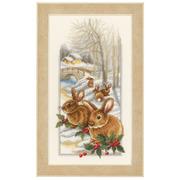 """Набор для вышивания крестом Vervaco """"Кролики на снегу"""""""