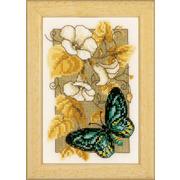 """Набор для вышивания крестом Vervaco """"Бабочка на цветах II"""""""
