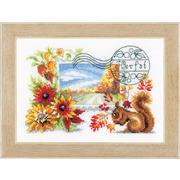 """Набор для вышивания крестом Vervaco """"Осенняя почтовая марка"""""""