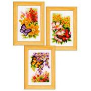 """Набор для вышивания крестом Vervaco из 3-х сюжетов """"Цветы и бабочки"""""""