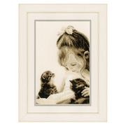 """Набор для вышивания крестом Vervaco """"Девочка и котенок"""""""