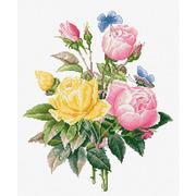"""Набор для вышивания крестом Luca-S """"Желтые розы и бенгальские розы"""""""