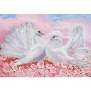 """Ткань с рисунком для вышивки бисером Конёк """"Любовь и голуби"""""""
