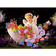"""Канва/ткань с нанесенным рисунком Каролинка """"Ангел в лесу"""""""