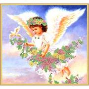 """Ткань с рисунком для вышивки бисером Каролинка """"Парящий ангел"""""""