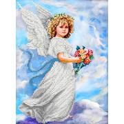 """Ткань с рисунком для вышивки бисером Каролинка """"Ангел в облаках"""""""