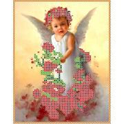 """Ткань с рисунком для вышивки бисером Каролинка """"Ангел в розах"""""""