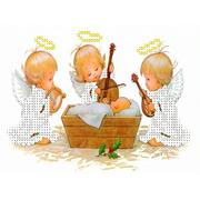"""Ткань с рисунком для вышивки бисером Каролинка """"Три ангелочка у колыбели"""""""