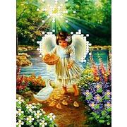 """Канва/ткань с нанесенным рисунком Каролинка """"Ангел с утятами"""""""
