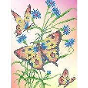 """Ткань с рисунком для вышивки бисером Каролинка """"Бабочки и васильки"""""""