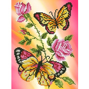 """Канва/ткань с нанесенным рисунком Каролинка """"Бабочки и розы"""""""