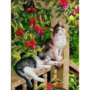 """Ткань с рисунком для вышивки бисером Каролинка """"В саду"""""""