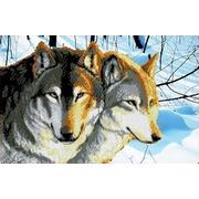 """Ткань с рисунком для вышивки бисером Каролинка """"Волки"""""""
