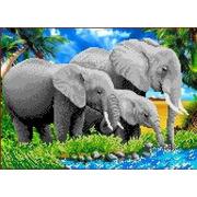 """Ткань с рисунком для вышивки бисером Каролинка """"Слоны"""""""