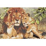 """Ткань с рисунком для вышивки бисером Каролинка """"Львы"""""""
