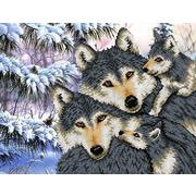 """Канва/ткань с нанесенным рисунком Каролинка """"Семья волков"""""""