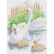 """Канва/ткань с нанесенным рисунком Каролинка """"Лебединое семейство"""""""