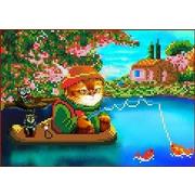 """Ткань с рисунком для вышивки бисером Каролинка """"Кот на рыбалке"""""""