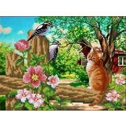 """Ткань с рисунком для вышивки бисером Каролинка """"Любопытный кот"""""""
