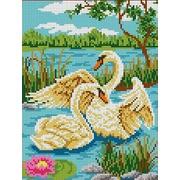 """Канва/ткань с нанесенным рисунком Каролинка """"Пара лебедей"""""""