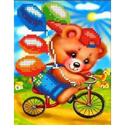 """Канва/ткань с нанесенным рисунком Каролинка """"Мишка на велосипеде"""""""