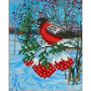 """Ткань с рисунком для вышивки бисером Каролинка """"Снегирь"""""""
