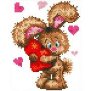 """Ткань с рисунком для вышивки бисером Каролинка """"Влюбленный зайчонок"""""""