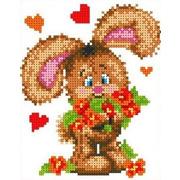 """Ткань с рисунком для вышивки бисером Каролинка """"Зайчонок с цветами"""""""