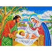 """Ткань с рисунком для вышивки бисером Каролинка """"Иисус в колыбели"""""""