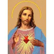 """Канва/ткань с нанесенным рисунком Каролинка """"Святое Сердце Иисуса"""""""