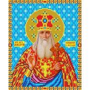 """Ткань с рисунком для вышивки бисером Каролинка """"Святой Макарий"""""""