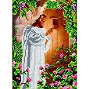 """Ткань с рисунком для вышивки бисером Каролинка """"Иисус стучащий в дверь"""""""