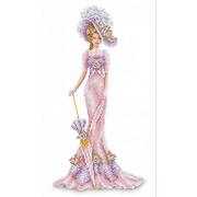 """Канва/ткань с нанесенным рисунком Каролинка """"Дама в розовом"""""""