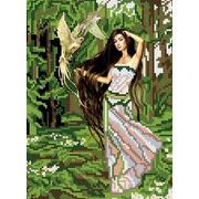 """Ткань с рисунком для вышивки бисером Каролинка """"Лесная фея"""""""