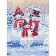 """Канва/ткань с нанесенным рисунком Каролинка """"Семья снеговиков"""""""