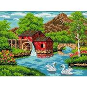 "Канва/ткань с нанесенным рисунком Каролинка ""Старая мельница"""