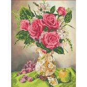 """Канва/ткань с нанесенным рисунком Каролинка """"Роза в вазе"""""""