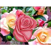 """Канва/ткань с нанесенным рисунком Каролинка """"Розовый цвет"""""""