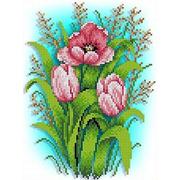"""Ткань с рисунком для вышивки бисером Каролинка """"Тюльпаны"""""""