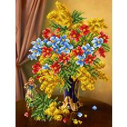 """Ткань с рисунком для вышивки бисером Каролинка """"Весеннее цветение"""""""