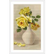 """Набор для вышивания крестом Luca-S """"Желтые розы в белой вазе"""""""